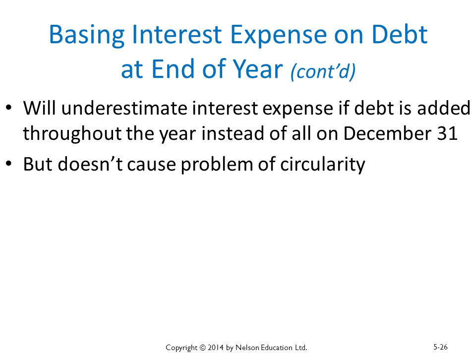 Basing Interest Expense on Debt at End of Year (cont'd) Will underestimate interest expense if debt is added throughout the year instead of all on Dec