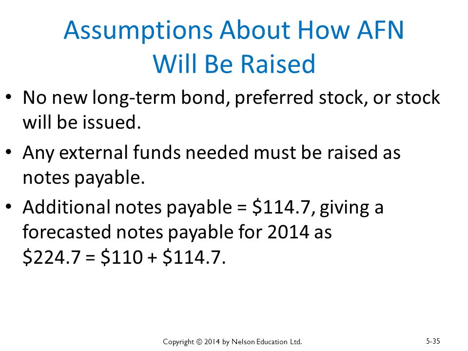 Assumptions About How AFN Will Be Raised No new long-term bond, preferred stock, or stock will be issued. Any external funds needed must be raised as