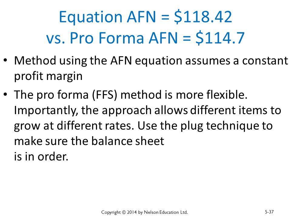 Equation AFN = $118.42 vs. Pro Forma AFN = $114.7 Method using the AFN equation assumes a constant profit margin The pro forma (FFS) method is more fl