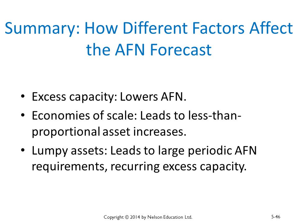 Summary: How Different Factors Affect the AFN Forecast Excess capacity: Lowers AFN. Economies of scale: Leads to less-than- proportional asset increas