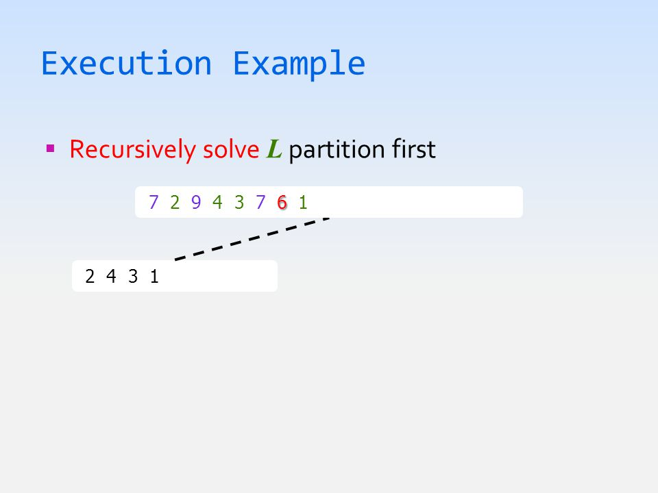 Execution Example  Recursively solve L partition first 2 4 3 1  1 2 3 4 6 7 2 9 4 3 7 6 1  1 2 3 4 6 7 7 9
