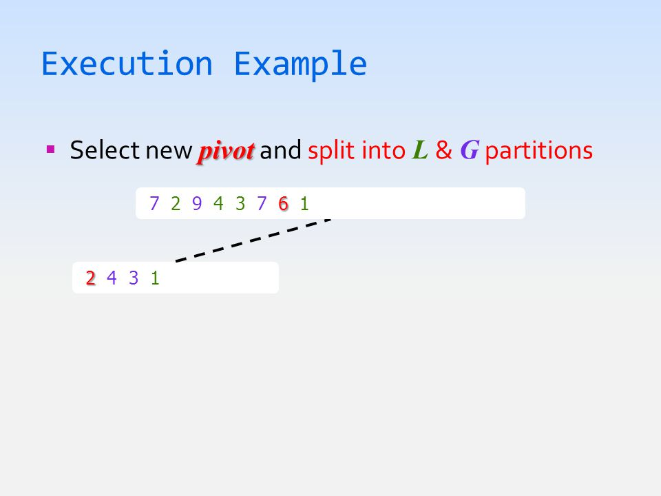 Execution Example pivot  Select new pivot and split into L & G partitions 2 2 4 3 1  1 2 3 4 6 7 2 9 4 3 7 6 1  1 2 3 4 6 7 7 9