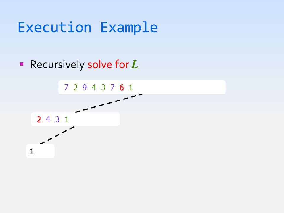 Execution Example  Recursively solve for L 1  1 2 2 4 3 1  1 2 3 4 6 7 2 9 4 3 7 6 1  1 2 3 4 6 7 7 9
