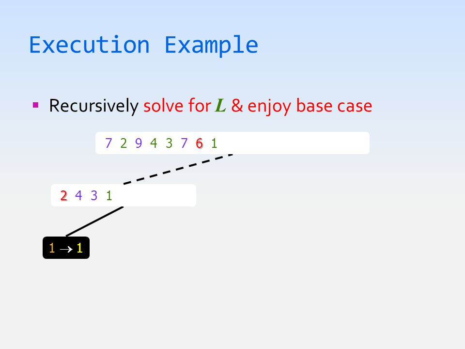 Execution Example  Recursively solve for L & enjoy base case 1  11  1 2 2 4 3 1  1 2 3 4 6 7 2 9 4 3 7 6 1  1 2 3 4 6 7 7 9
