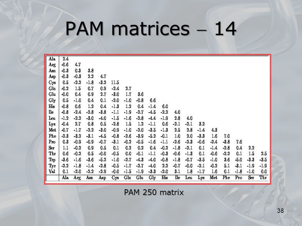 PAM matrices  14 38 PAM 250 matrix