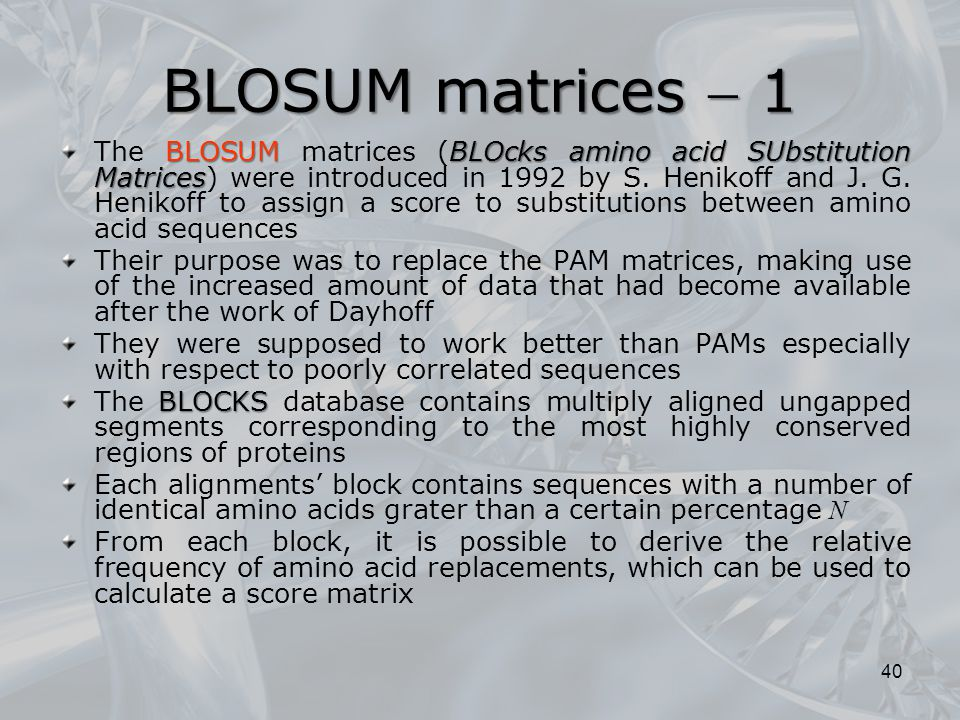BLOSUM matrices  1 BLOSUMBLOcks amino acid SUbstitution Matrices The BLOSUM matrices (BLOcks amino acid SUbstitution Matrices) were introduced in 199