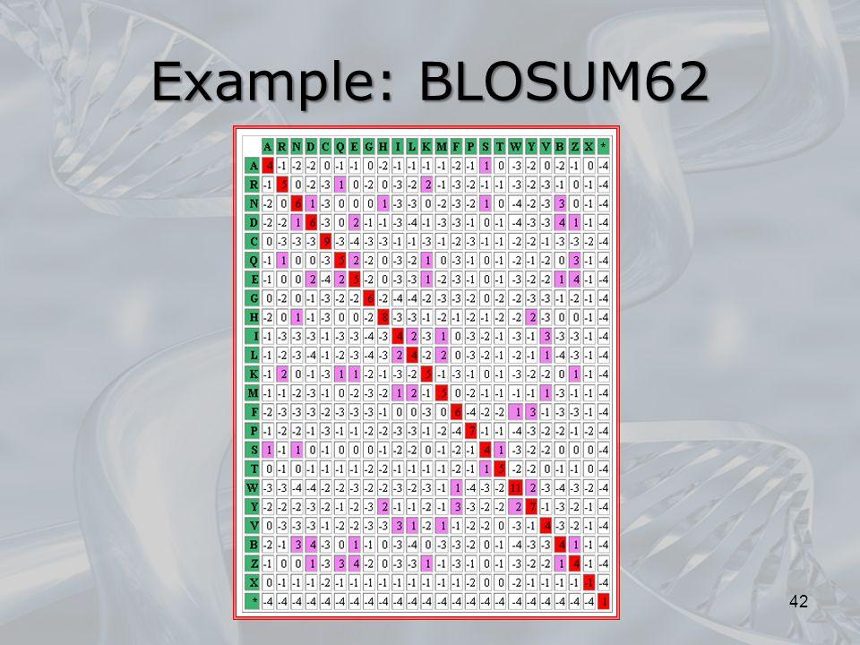 Example: BLOSUM62 42