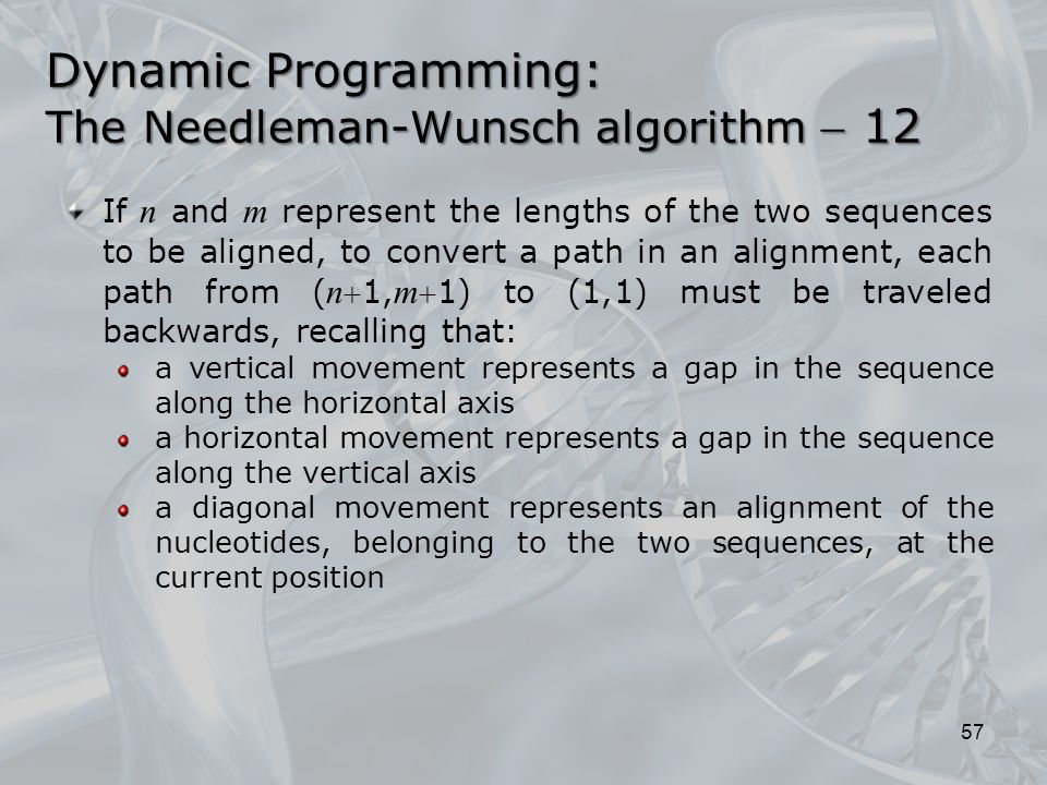 57 If n and m represent the lengths of the two sequences to be aligned, to convert a path in an alignment, each path from ( n 1, m 1) to (1,1) must be traveled backwards, recalling that: a vertical movement represents a gap in the sequence along the horizontal axis a horizontal movement represents a gap in the sequence along the vertical axis a diagonal movement represents an alignment of the nucleotides, belonging to the two sequences, at the current position Dynamic Programming: The Needleman-Wunsch algorithm  12