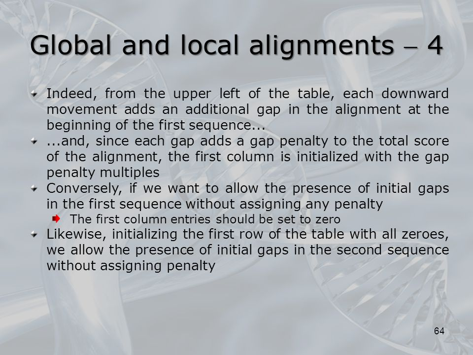 64 Indeed, from the upper left of the table, each downward movement adds an additional gap in the alignment at the beginning of the first sequence....