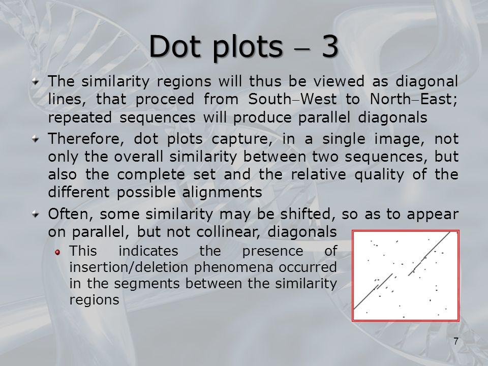 The similarity regions will thus be viewed as diagonal lines, that proceed from SouthWest to NorthEast; repeated sequences will produce parallel diagonals Therefore, dot plots capture, in a single image, not only the overall similarity between two sequences, but also the complete set and the relative quality of the different possible alignments Often, some similarity may be shifted, so as to appear on parallel, but not collinear, diagonals Dot plots  3 This indicates the presence of insertion/deletion phenomena occurred in the segments between the similarity regions 7