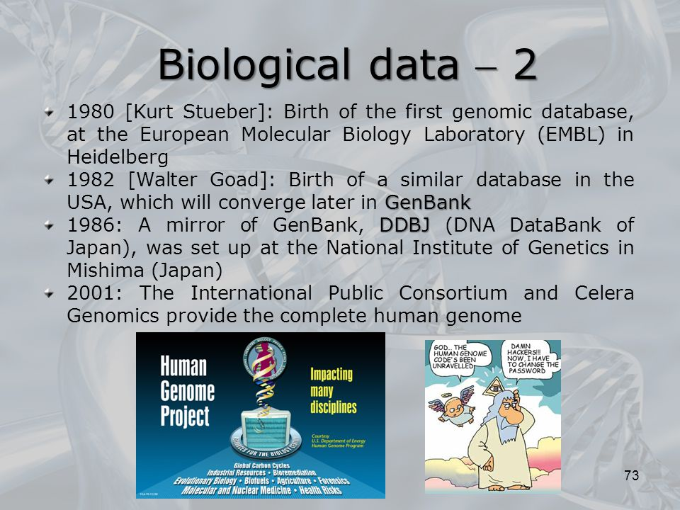 Biological data  2 Biological data  2 73 1980 [Kurt Stueber]: Birth of the first genomic database, at the European Molecular Biology Laboratory (EMB