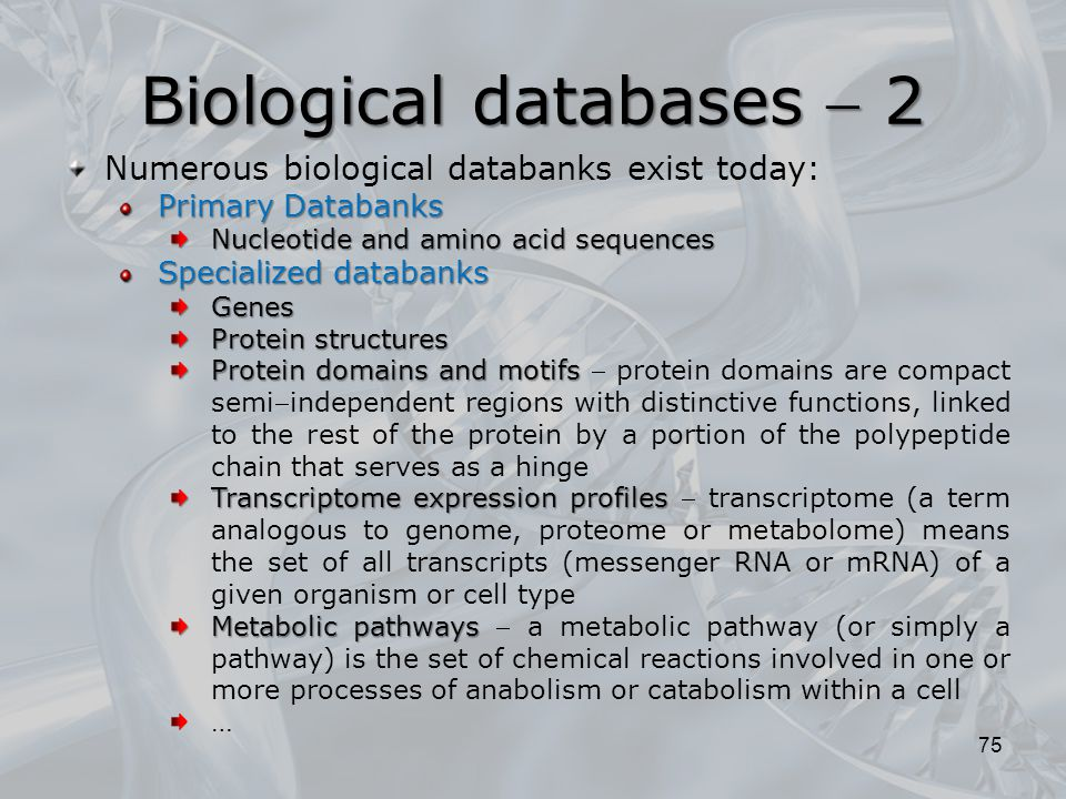Biological databases  2 75 Numerous biological databanks exist today: Primary Databanks Nucleotide and amino acid sequences Specialized databanks Gen