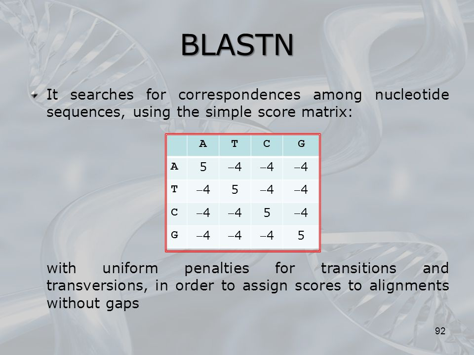 BLASTN 92 It searches for correspondences among nucleotide sequences, using the simple score matrix: with uniform penalties for transitions and transv