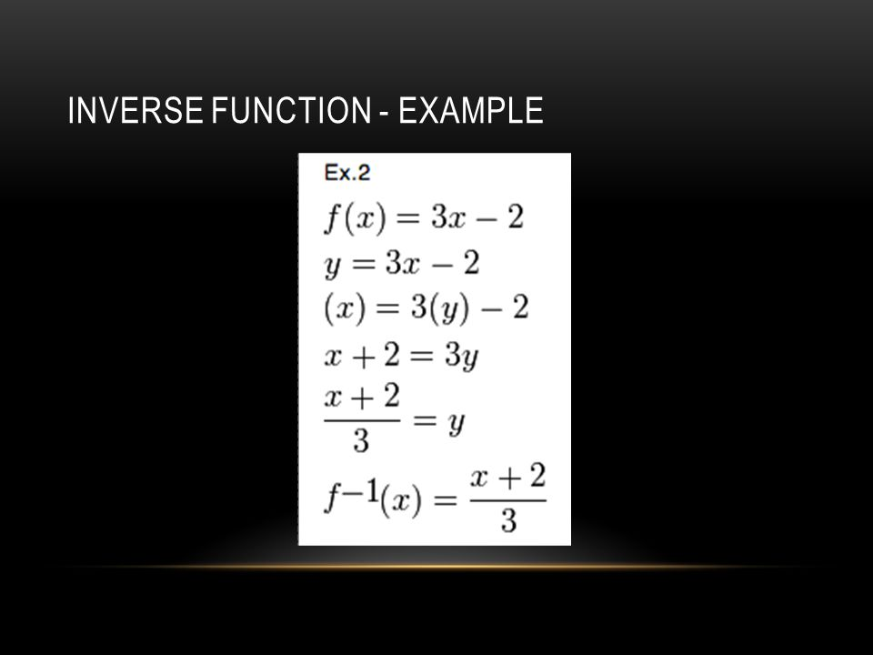 INVERSE FUNCTION - EXAMPLE