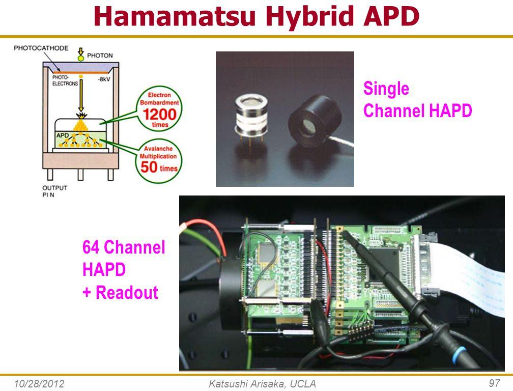 10/28/2012Katsushi Arisaka, UCLA 97 Hamamatsu Hybrid APD Single Channel HAPD 64 Channel HAPD + Readout