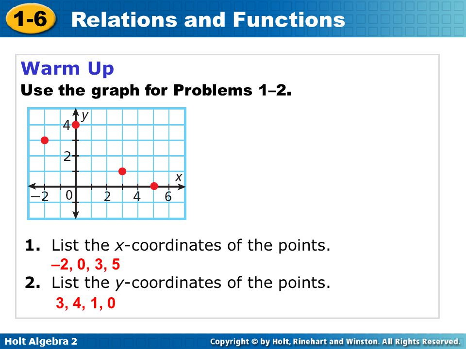 Holt Algebra 2 1-6 Relations and Functions Warm Up Use the graph for Problems 1–2. 1. List the x-coordinates of the points. 2. List the y-coordinates