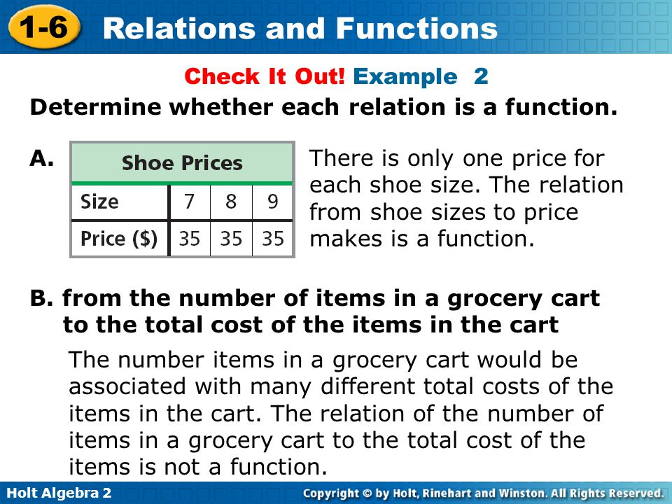 Holt Algebra 2 1-6 Relations and Functions Check It Out! Example 2 A. Determine whether each relation is a function. B. from the number of items in a