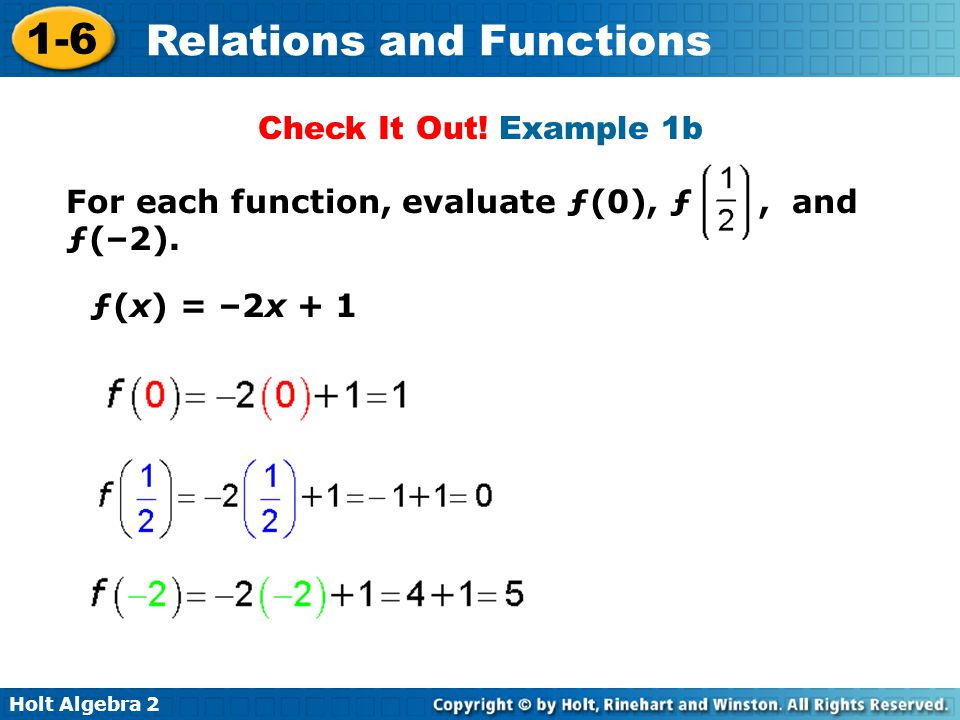 Holt Algebra 2 1-6 Relations and Functions Check It Out! Example 1b For each function, evaluate ƒ(0), ƒ, and ƒ(–2). ƒ(x) = –2x + 1