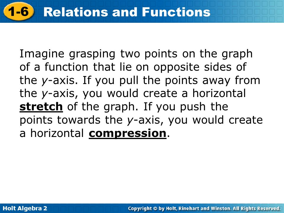 Holt Algebra 2 1-6 Relations and Functions Imagine grasping two points on the graph of a function that lie on opposite sides of the y-axis. If you pul