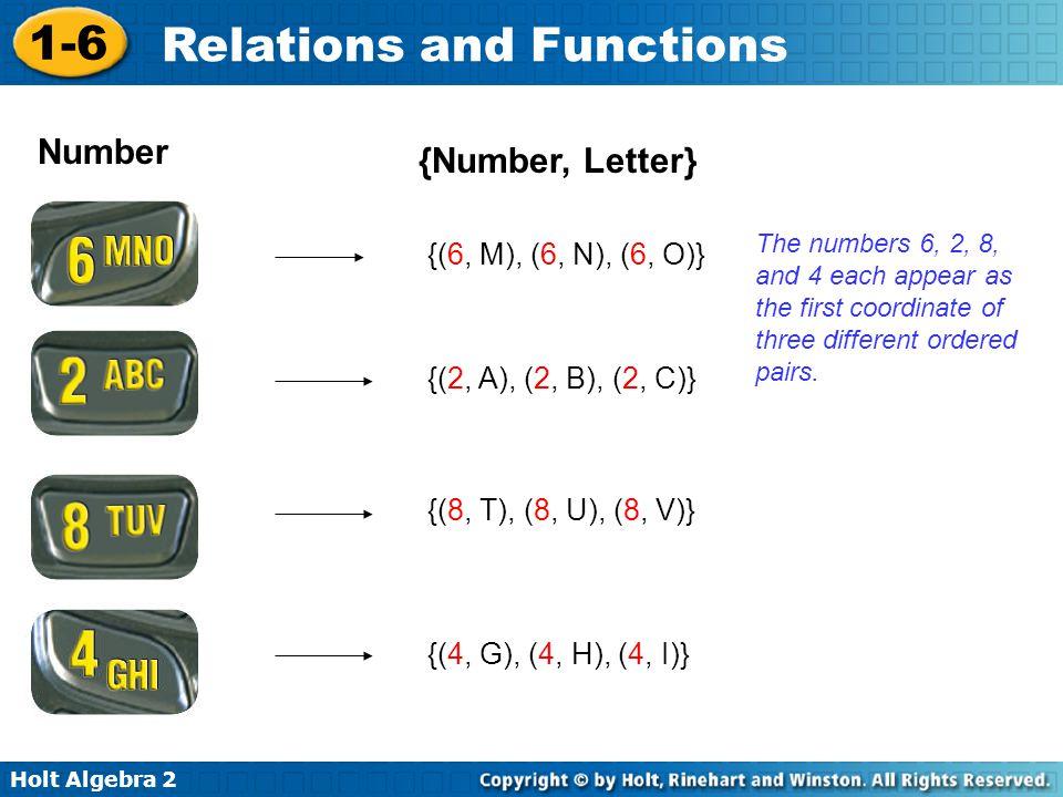 Holt Algebra 2 1-6 Relations and Functions Number {Number, Letter} {(8, T), (8, U), (8, V)} {(6, M), (6, N), (6, O)} {(2, A), (2, B), (2, C)} {(4, G),
