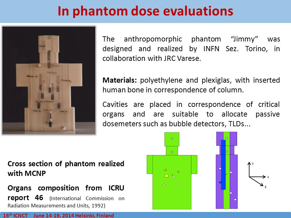 "16 th ICNCT June 14-19, 2014 Helsinki, Finland In phantom dose evaluations The anthropomorphic phantom ""Jimmy"" was designed and realized by INFN Sez."