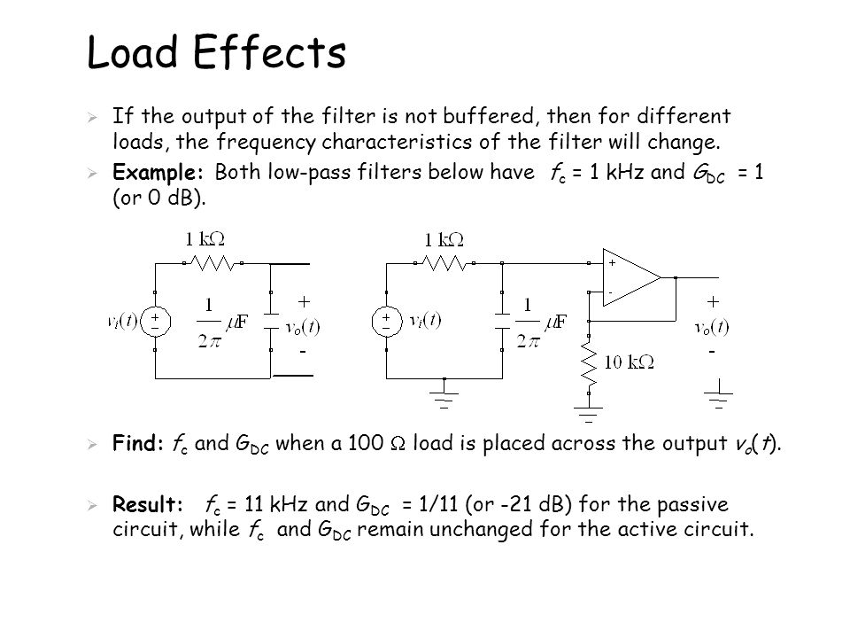 Load Effects  If the output of the filter is not buffered, then for different loads, the frequency characteristics of the filter will change.  Examp