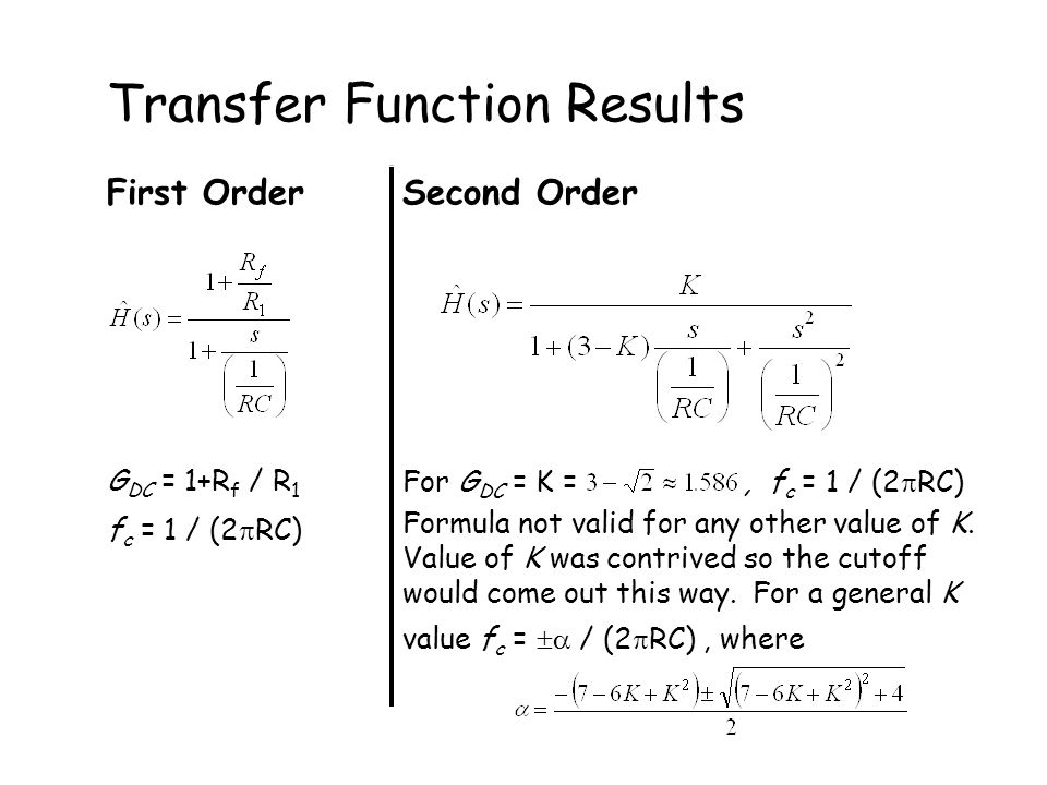 First OrderSecond Order G DC = 1+R f / R 1 f c = 1 / (2  RC) For G DC = K =, f c = 1 / (2  RC) Formula not valid for any other value of K.