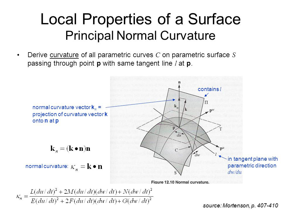 Local Properties of a Surface Principal Normal Curvature Derive curvature of all parametric curves C on parametric surface S passing through point p with same tangent line l at p.