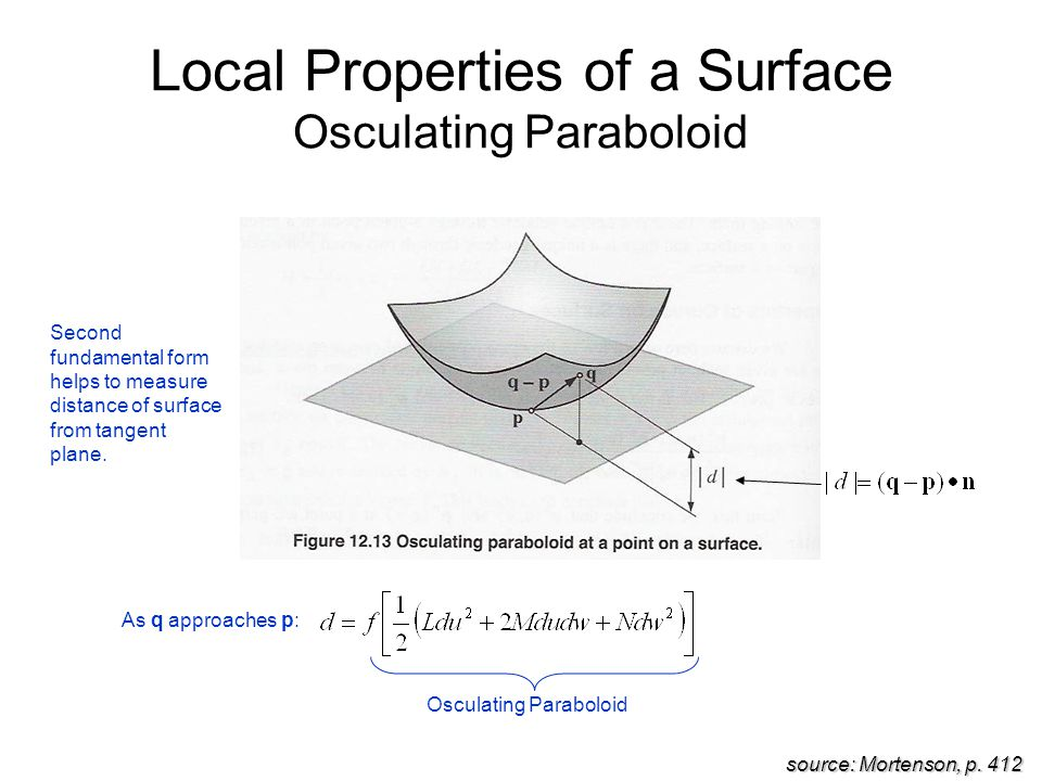 Local Properties of a Surface Osculating Paraboloid source: Mortenson, p.