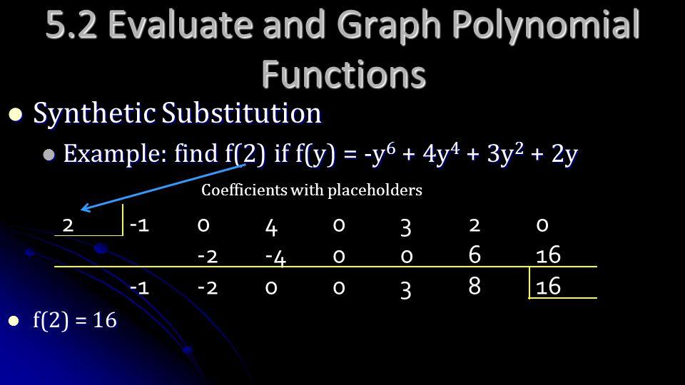 5.2 Evaluate and Graph Polynomial Functions Synthetic Substitution Synthetic Substitution Example: find f(2) if f(y) = -y 6 + 4y 4 + 3y 2 + 2y Example