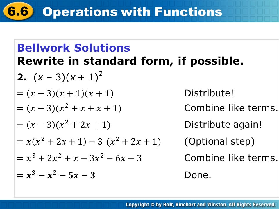 6.6 Operations with Functions Given f(x) = 5x – 6 and g(x) = x 2 – 5x + 6, find each function.