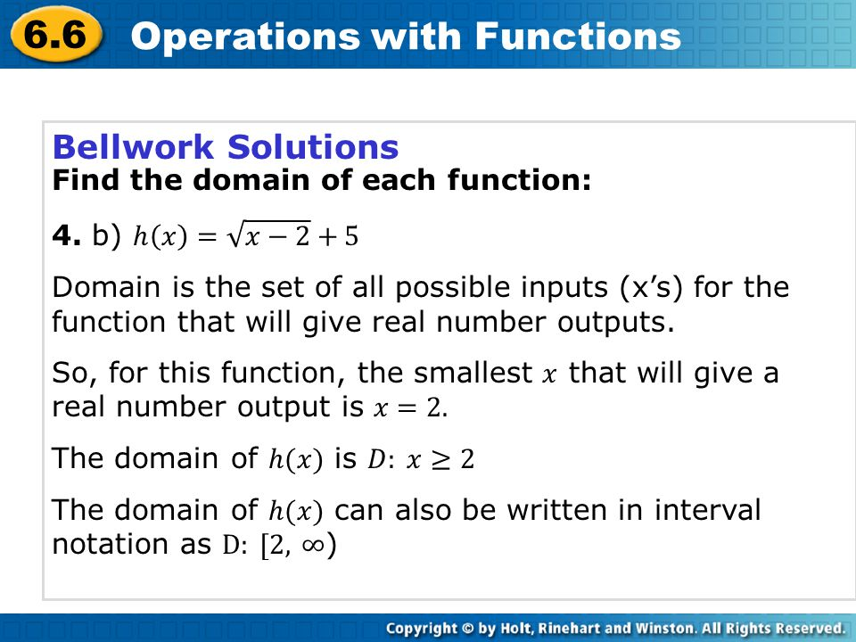 6.6 Operations with Functions Another function operation uses the output from one function as the input for a second function.