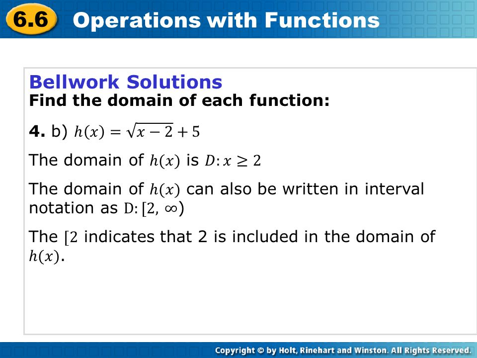 6.6 Operations with Functions Bellwork Solutions