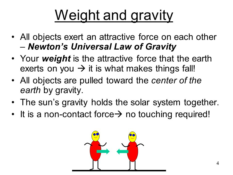 Newton's Law of Gravity the force of gravity depends on how large the masses are  big M's  big force, and, how far apart they are, the closer the masses are  the bigger the force Since we are closer to the Earth than to the Sun, our gravitational force is mainly due to the Earth Sun Earth 5