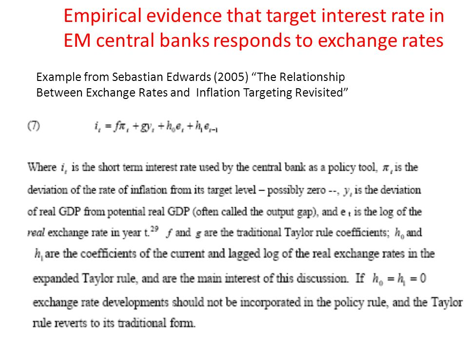 "Example from Sebastian Edwards (2005) ""The Relationship Between Exchange Rates and Inflation Targeting Revisited"" Empirical evidence that target inter"