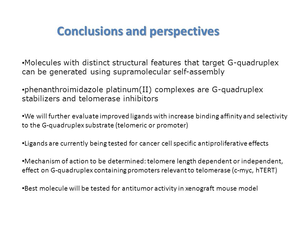 Conclusions and perspectives Molecules with distinct structural features that target G-quadruplex can be generated using supramolecular self-assembly