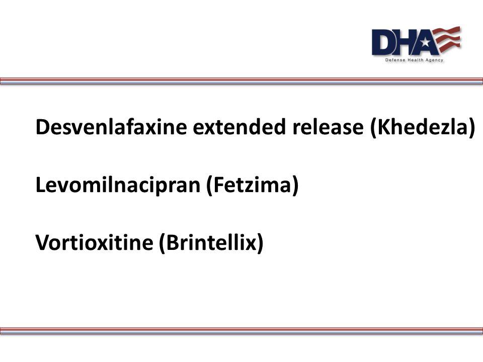 Desvenlafaxine extended release (Khedezla) Levomilnacipran (Fetzima) Vortioxitine (Brintellix)