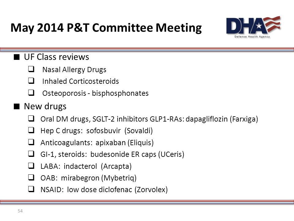 ∎ UF Class reviews  Nasal Allergy Drugs  Inhaled Corticosteroids  Osteoporosis - bisphosphonates ∎ New drugs  Oral DM drugs, SGLT-2 inhibitors GLP1-RAs: dapagliflozin (Farxiga)  Hep C drugs: sofosbuvir (Sovaldi)  Anticoagulants: apixaban (Eliquis)  GI-1, steroids: budesonide ER caps (UCeris)  LABA: indacterol (Arcapta)  OAB: mirabegron (Mybetriq)  NSAID: low dose diclofenac (Zorvolex) May 2014 P&T Committee Meeting 54
