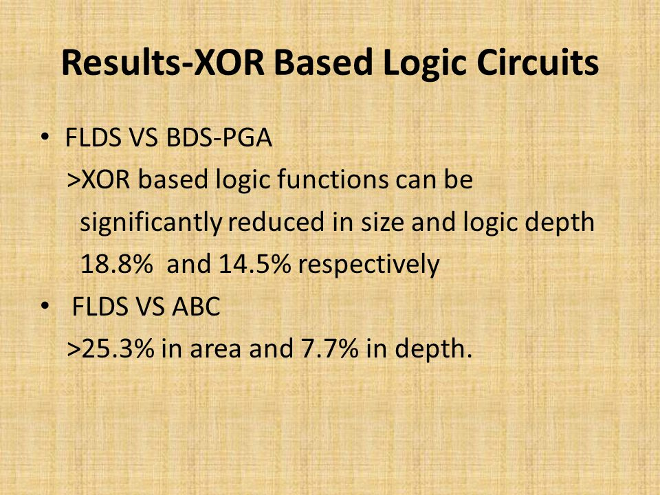 Results-XOR Based Logic Circuits FLDS VS BDS-PGA >XOR based logic functions can be significantly reduced in size and logic depth 18.8% and 14.5% respectively FLDS VS ABC >25.3% in area and 7.7% in depth.