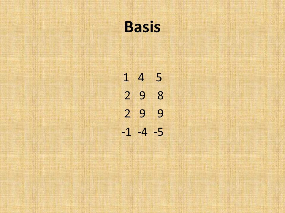 Basis 1 4 5 2 9 8 2 9 9 -1 -4 -5