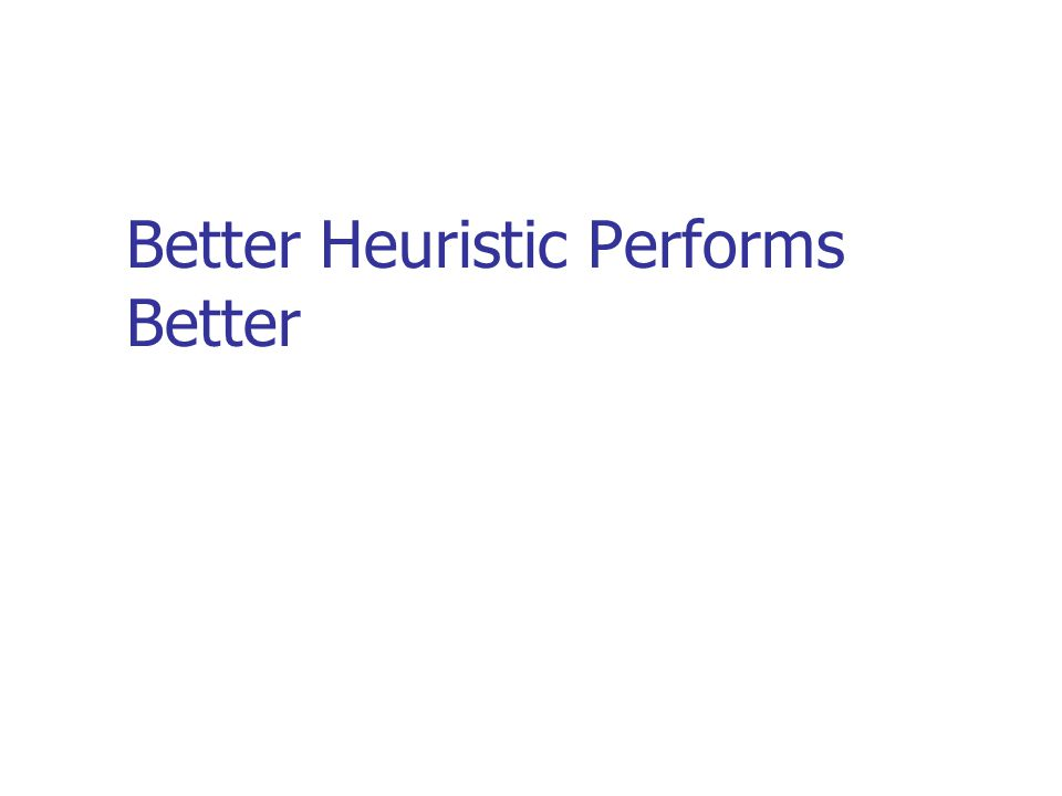 Better Heuristic Performs Better