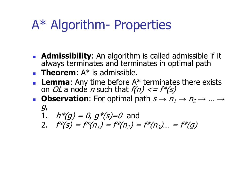 Admissibility: An algorithm is called admissible if it always terminates and terminates in optimal path Theorem: A* is admissible. Lemma: Any time bef