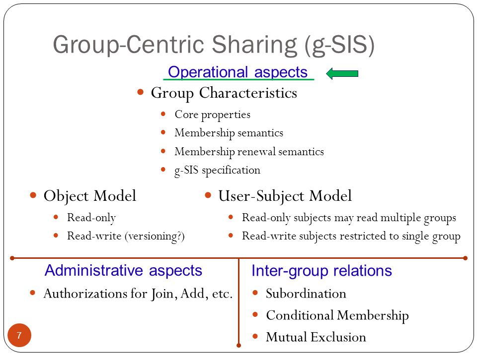 Group-Centric Sharing (g-SIS) 7 Operational aspects Object Model Read-only Read-write (versioning ) User-Subject Model Read-only subjects may read multiple groups Read-write subjects restricted to single group Group Characteristics Core properties Membership semantics Membership renewal semantics g-SIS specification Authorizations for Join, Add, etc.