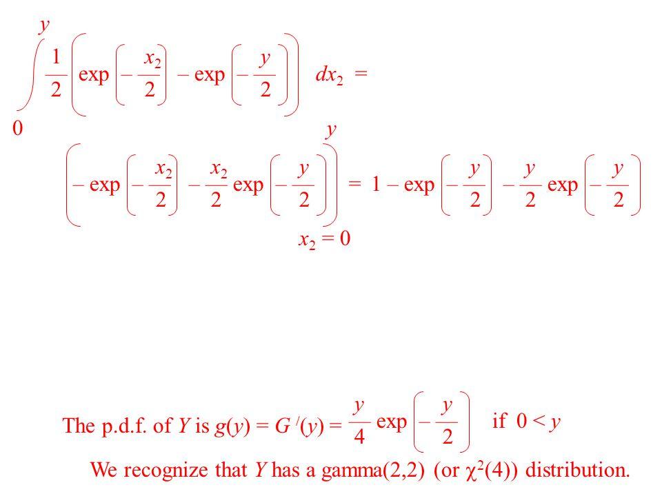 0 y 1 x 2 — exp – — dx 2 = 2 2 y – exp – — 2 x 2 = 0 y x 2 – exp – — = 2 x 2 y – — exp – — 2 2 y 1 – exp – — 2 y – — exp – — 2 2 The p.d.f. of Y is g(