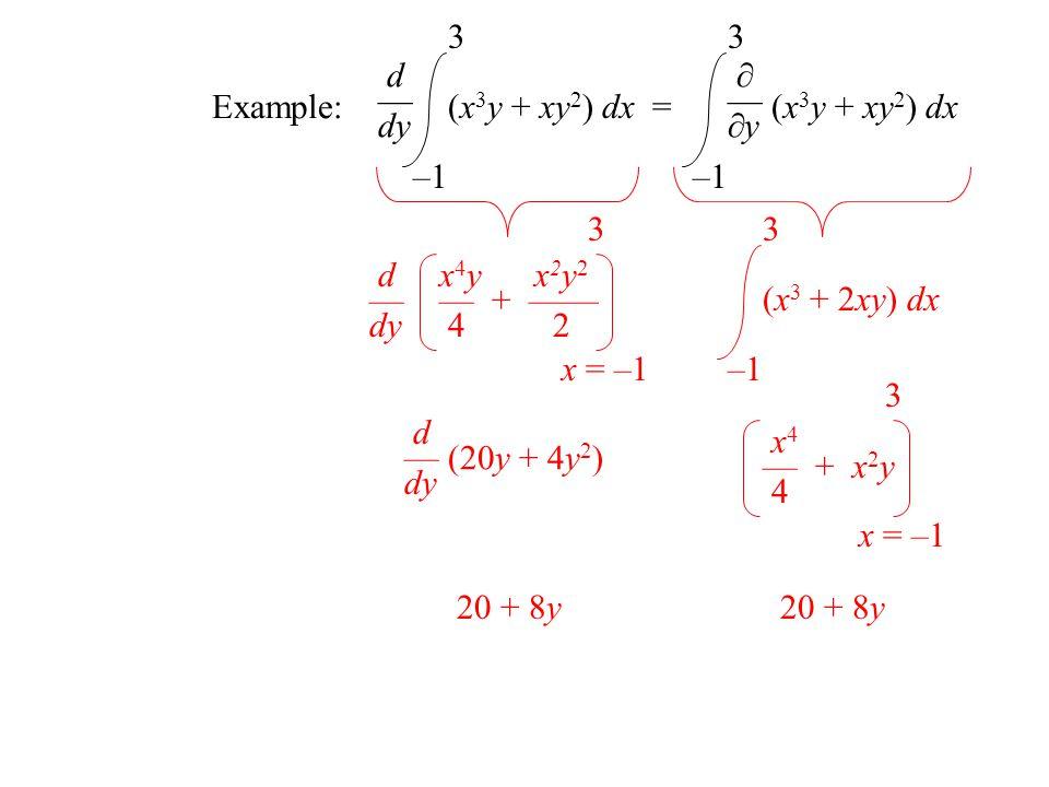 Example: d — dy –1 3 (x 3 y + xy 2 ) dx = —y —y (x 3 y + xy 2 ) dx –1 3 x 4 y x 2 y 2 — + —— 4 2 x = –1 3 d — dy –1 3 (x 3 + 2xy) dx (20y + 4y 2 ) d — dy 20 + 8y x 4 — + x 2 y 4 x = –1 3 20 + 8y