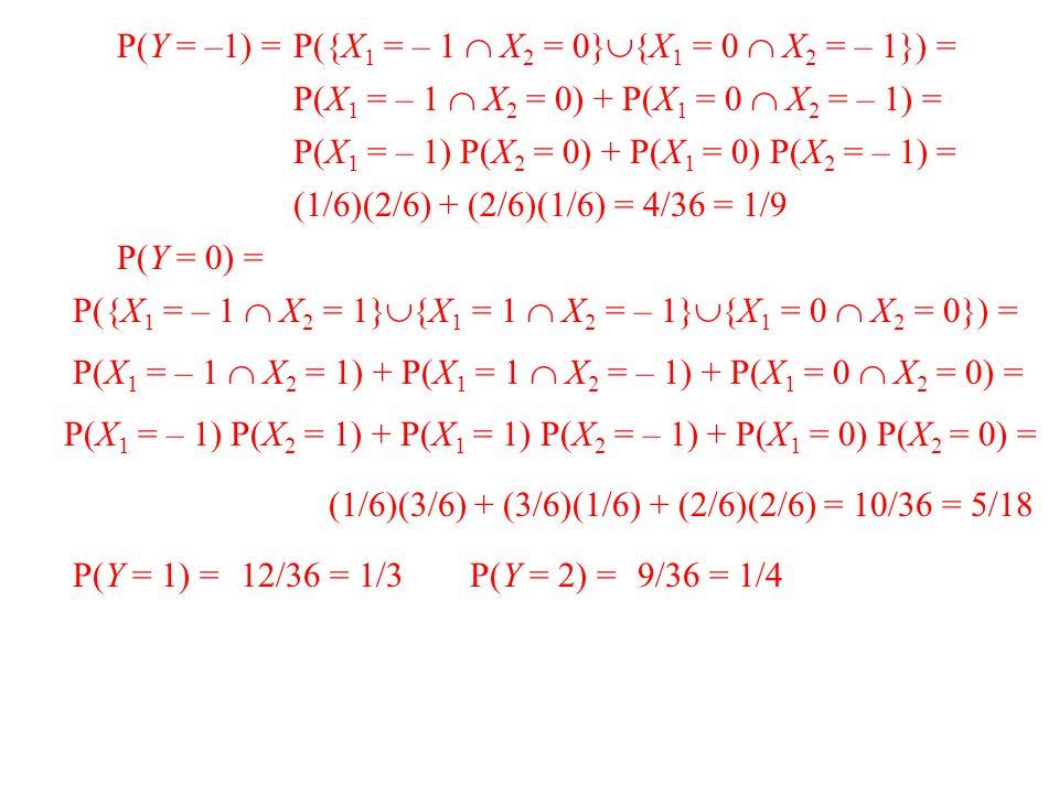 P(Y = –1) = P({X 1 = – 1  X 2 = 0}  {X 1 = 0  X 2 = – 1}) = P(X 1 = – 1  X 2 = 0) + P(X 1 = 0  X 2 = – 1) = P(X 1 = – 1) P(X 2 = 0) + P(X 1 = 0) P(X 2 = – 1) = (1/6)(2/6) + (2/6)(1/6) = 4/36 = 1/9 P(Y = 0) = P({X 1 = – 1  X 2 = 1}  {X 1 = 1  X 2 = – 1}  {X 1 = 0  X 2 = 0}) = P(X 1 = – 1  X 2 = 1) + P(X 1 = 1  X 2 = – 1) + P(X 1 = 0  X 2 = 0) = P(X 1 = – 1) P(X 2 = 1) + P(X 1 = 1) P(X 2 = – 1) + P(X 1 = 0) P(X 2 = 0) = (1/6)(3/6) + (3/6)(1/6) + (2/6)(2/6) = 10/36 = 5/18 P(Y = 1) =P(Y = 2) =12/36 = 1/39/36 = 1/4