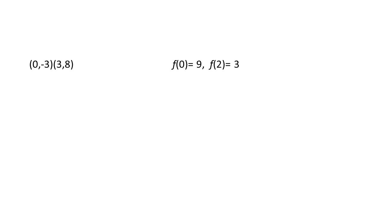 (0,-3)(3,8)f(0)= 9, f(2)= 3