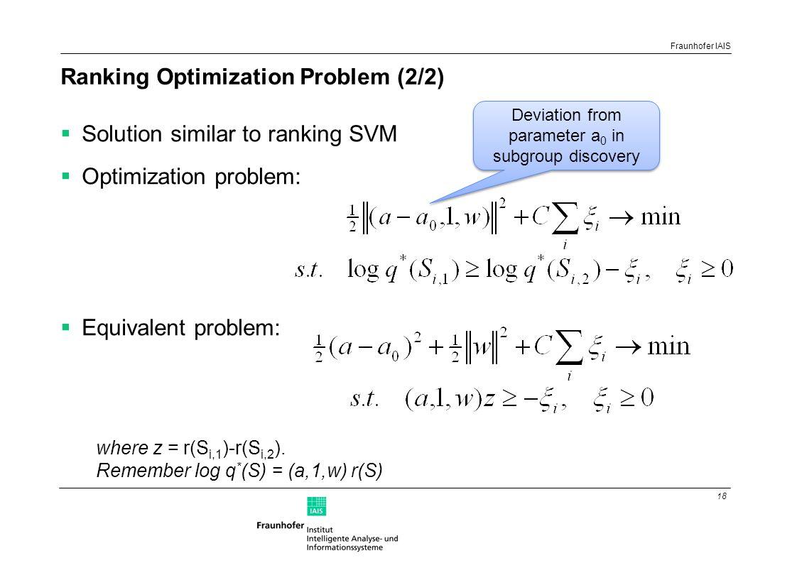 18 Fraunhofer IAIS Ranking Optimization Problem (2/2)  Solution similar to ranking SVM  Optimization problem:  Equivalent problem: where z = r(S i,1 )-r(S i,2 ).