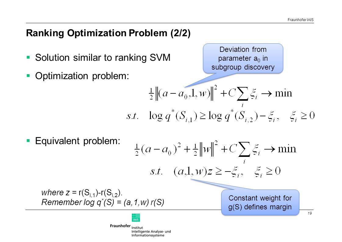 19 Fraunhofer IAIS Ranking Optimization Problem (2/2)  Solution similar to ranking SVM  Optimization problem:  Equivalent problem: where z = r(S i,1 )-r(S i,2 ).