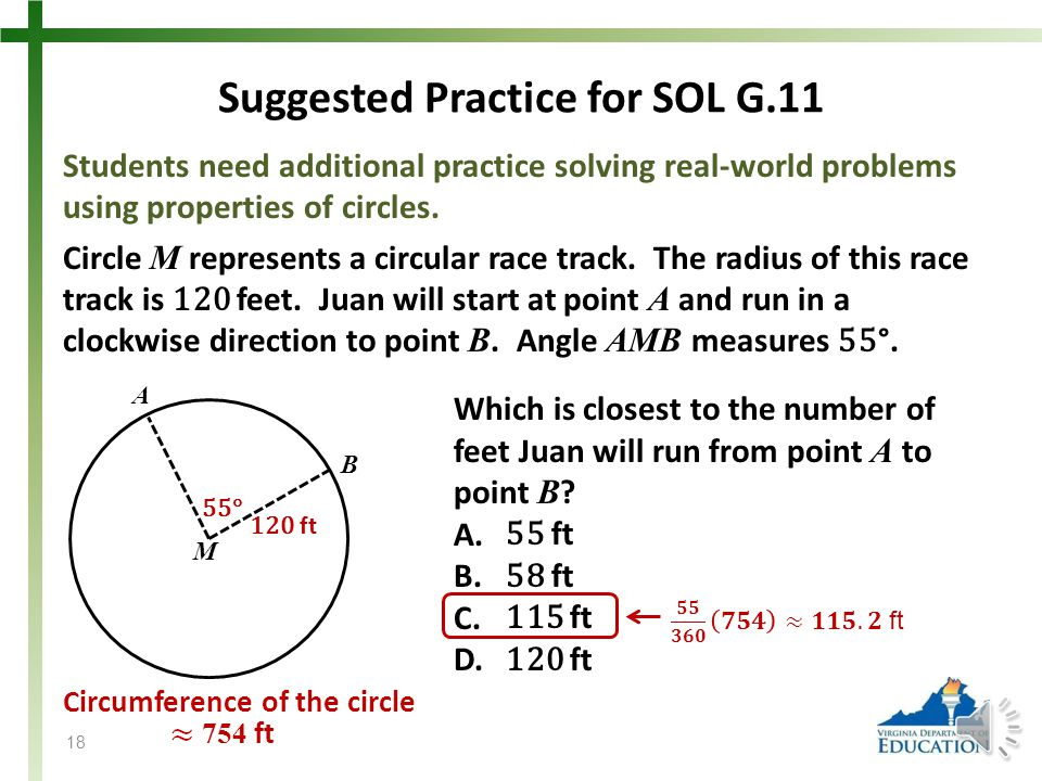 Suggested Practice for SOL G.11 Students need additional practice solving real-world problems using properties of circles.